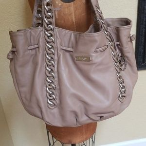 MICHAEL KORS LAMB LEATHER TAN AND SILVER PURSE